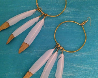 Hoops with Gold Dipped Feather Earrings