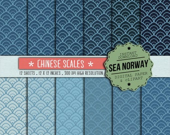 Chinese scales Digital paper, wave patterns, chinese desings, scrapbook , 300 DPI 12 x 12 inch / 157