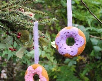 Handmade felt donut beaded doughnut decoration hanging ornament