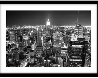 New York at Night -  Black and White Fine Art Photograph printed on 308gsm Hahnemuhle fine art paper (Unmatted)