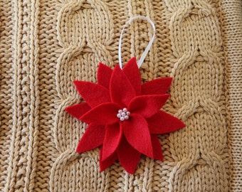 Christmas Felt poinsettia tree Ornament