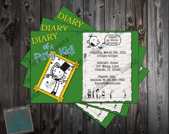Diary of a Wimpy Birthday Party Invitations
