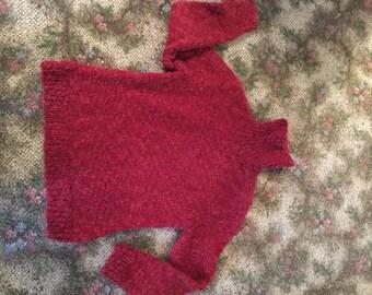 Vintage Brick Red Chunky Handmade Turtle Neck Wool Sweater - Estimated Women Small / Medium