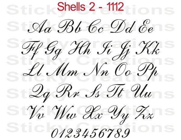 Custom Text Shells Font Script Cursive Customized