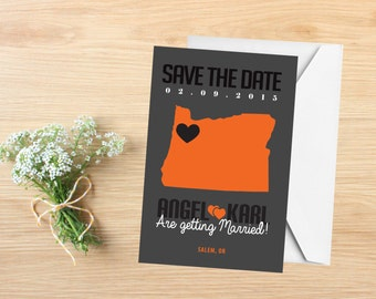Save the Date, State Save the Date Postcard, Destination Wedding, Wedding Invitations, Oregon, Stationery, State Map, Oregon Save the Date