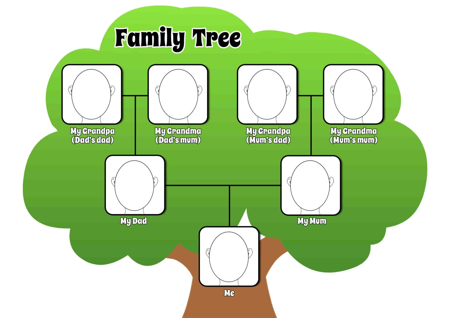 Printable pdf family tree page to complement by for Blank family tree template for kids