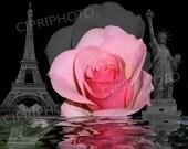 Digital Download - Photo Collage, Roses, world travel, Instant digital download, famous building