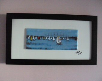 "Fused Glass Wall Art  ""Sailboats in the Bay""(framed)"