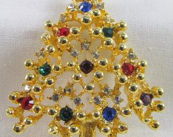 Multicolored Rhinestone Vintage Christmas Tree Brooch