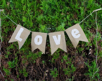 Love Rustic Shabby Chic Wedding Bunting Banner