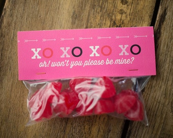 Valentine Treats, Valentine Party, Valentine Bag Topper, Bag Topper, Treat Bag Topper, XOXO, Classroom Treats, Treat Bags, Valentine