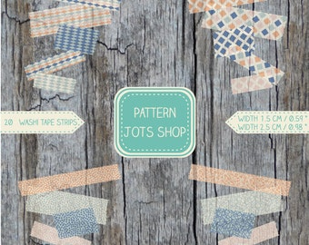 Digital Washi Tape Mixed Vintage Patterns 1.5cm/0.59 in and  2.5cm/0.98in - 20 Images - Clip Art Printable Tape - DIY Projects -Scrapbooking