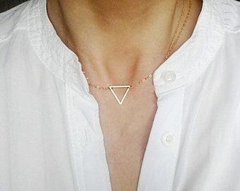 Gold Triangle Necklace, Gold Filled Necklace, Dainty Triangle, Triangle Charm, Short Necklace, Choker, Geometric Geo Jewelry