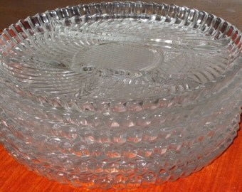 4 Sectioned glass pressed plates made in Canada