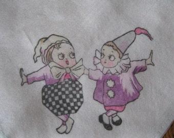 Vintage Clown Child Hankie 30's type RARE SILK small children's handkerchief hanky