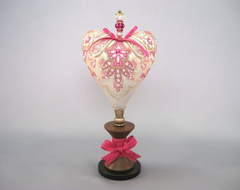 Heart Pincushion with Fusha and Gold