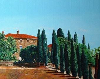 Italian Tuscan landscape, oil on canvas, 50 x 100 x 2 cm
