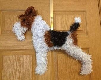 Wire Fox Terrier Wreath.  Custom Colored.  Great Wall Decor!  Christmas Wreath.