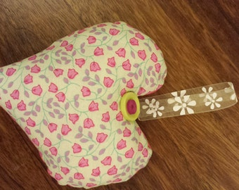 Pretty Pink and Yellow Floral stuffed Heart with Button Detail And Contrasting Fabric To Reverse