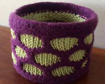 Knitted and felted basket - Perfect for the nursery!