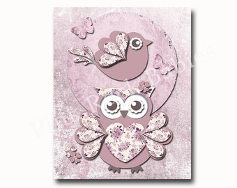 Wall art for nursery, baby girl room art, wall art for kids, children wall art, kids room art, pink nursery owl, victorian nursery wall art