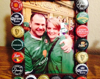 Beer Bottle Cap Picture Frame: Various Beers, Frame Sizes and Colors Available, Great Gift to Capture Memories with Family and Friends