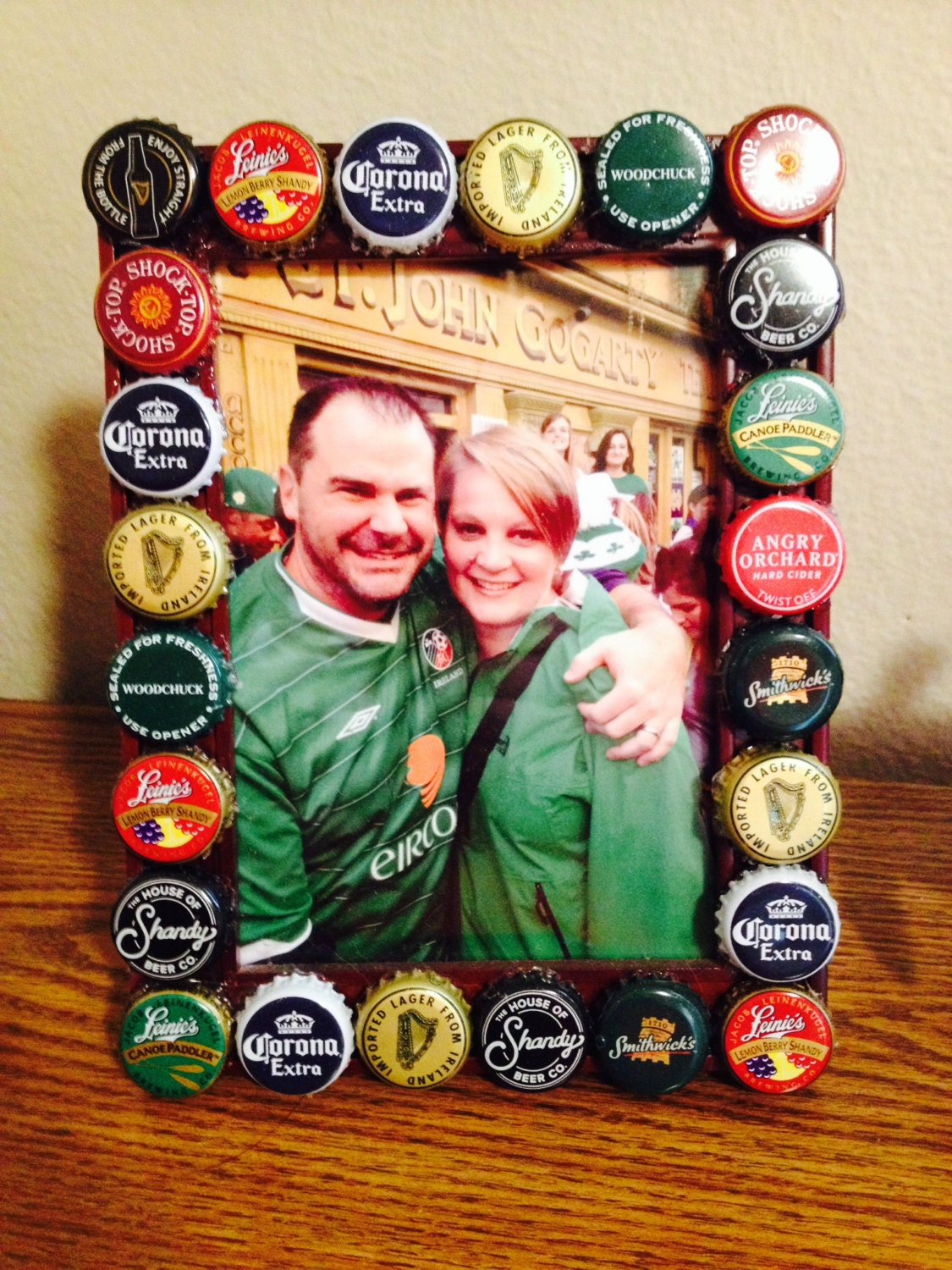 Beer bottle cap picture frame various beers frame by for Beer bottle picture frame