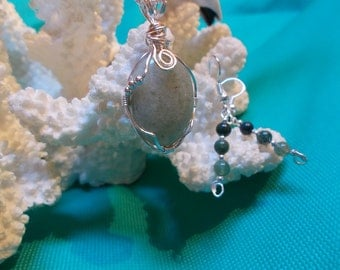 15% OFF Moss Agate Pendant and Earrings