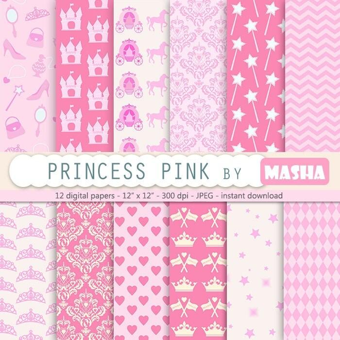 Princess Digital Paper Pink Princess Digital Paper Princess