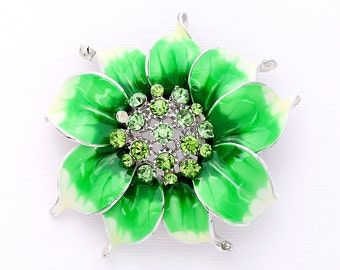 Flower Brooch, Green Flower Broach, Green Brooches, Unique Jewelry, DIY Project Jewelry Craft Embellishment