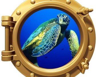 Porthole Wall Fabric Color Decal Reef With Sea Turtle 12 In Removable Reusable