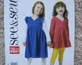 UNCUT Girls Top and Dress - Butterick Pattern B5801