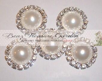 5 Pc 16mm Rhinestone Pearl Metal Flatback Buttons Hair Bow Center Embellishment Set #44