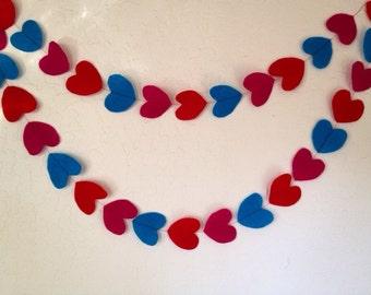 Heart garland, felt garland, valentine's day garland, felt heart garland, love garland