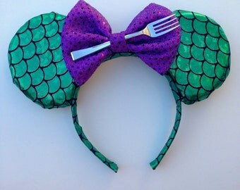 Little mermaid inspired ears with a fork!