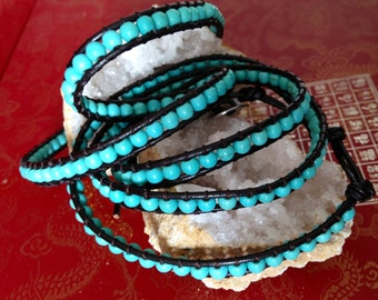 SPRING SALE 50% OFF Turquoise wrap bracelet - brown leather