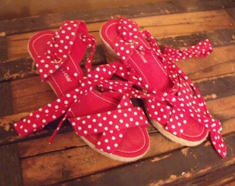 "The ""Roxie"" 1950s Style Red & White Polka Dot Wedge Espadrillas Size 8 1/2"