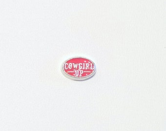 Cowgirl Up Pink Floating Charm for Glass Locket