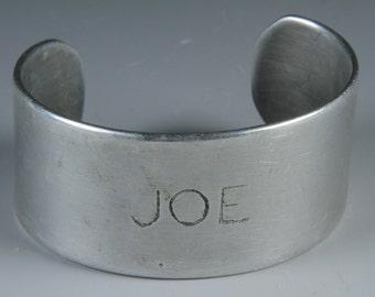 vintage aluminum JOE cuff bracelet