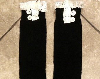 Buttoned Lace Boot Socks - Black - Stretchy - Boot Warmers - Knee High