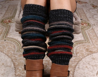 Midnight Striped Leg Warmers - Stretchy - Boot Warmers - Knee High
