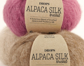 Garnstudio DROPS Design Brushed Alpaca silk yarn 25g 67% baby alpaca 23 mulberry silk fluffy knitting wool - LOWEST Price Drops Retailer