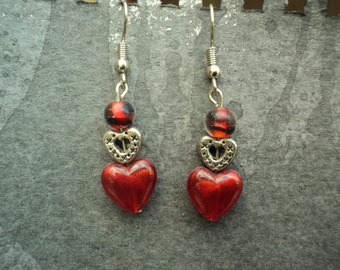 Red Heart Beaded Earrings