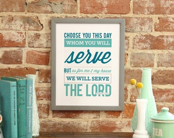 """Bible Verse Art Print Scripture art Scripture Typography print Bible """"As for me and my house, we will serve the Lord."""" - Joshua 24:15"""