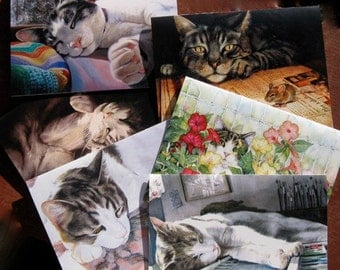 Cat Note Cards and Envelopes - Set of 6 - 6 Different Designs from My Original Paintings
