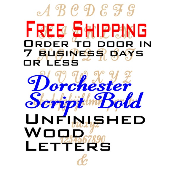 Unfinished Wood Letters Number, Free Ship, Dorchester Script, Wood Craft, laser cut wood, &, wooden, wall, DIY, Wedding