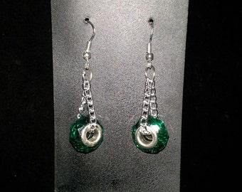 Green Murano glass bead earrings