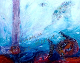 Painting acrylic, semi abstract painting, seabed