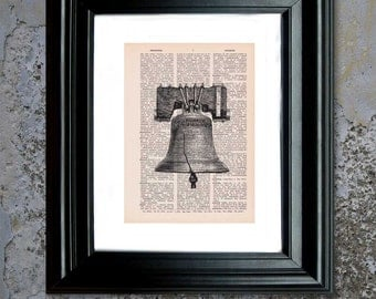 Dictionary Page Print: Vintage Liberty Bell Art, Dictionary Art Print, Wall Art, Mixed Media ZRP8007