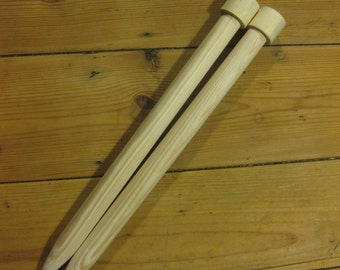 25mm x 40cm giant knitting needles Handmade and wooden